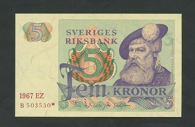 SWEDEN  5 kronor  1967 *Replacement  P51ar1  Uncirculated  Banknotes