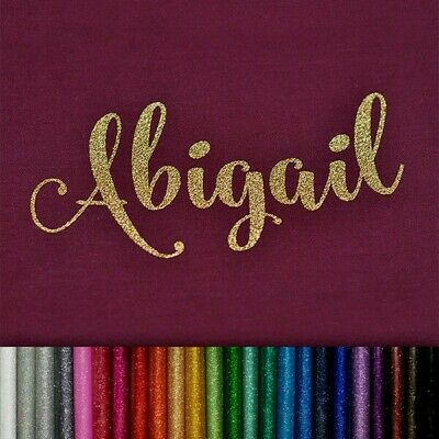 PERSONALISED NAME IRON ON TEXT GLITTER  HOTFIX TRANSFER Many colours vinyl bling