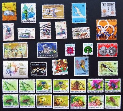 Singapore Collection Of 8 Mint & 27 Used Stamps All Different And Unhinged
