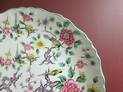 """Vintage James Kent CHINESE Rose Chintz 10.5"""" Cabinet Cake Wall Decor Plate!"""