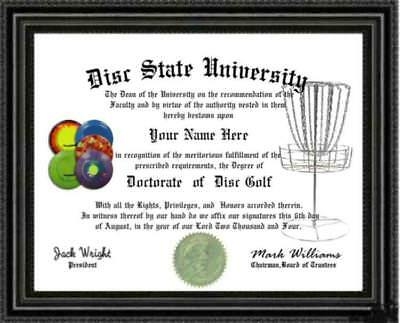 Disc Golf Lover's Doctorate Diploma / Degree Custom made and Designed for you