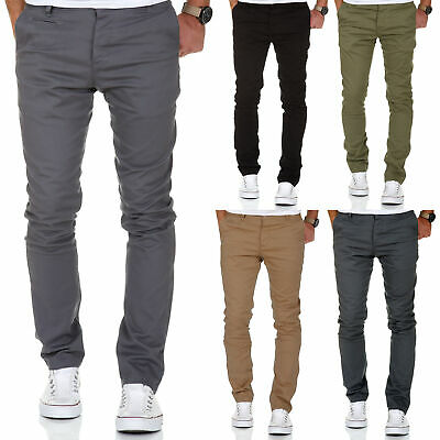 Herren Slim Fit Stretch Chino Hose Jeans Beige/Schwarz/Navy/Grau 7100