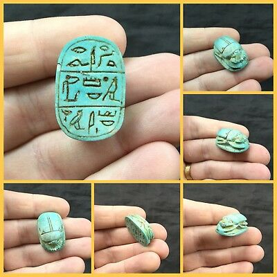 Large Egyptian Blue Faience Scarab Beetle With Hieroglyphs, Middle Kingdom.
