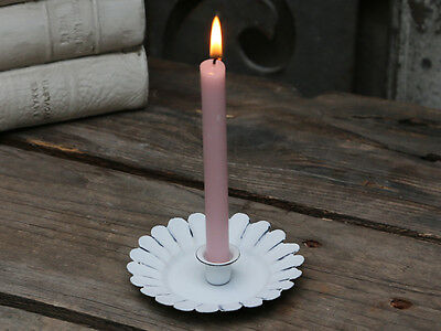 Chic Antique Candle Holder Candle Holder Metal White Shabby Vintage Brocade