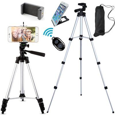 "Aluminum Professional Camera Tripod for CellPhones w/ Clip & Remote 43"" Silver"