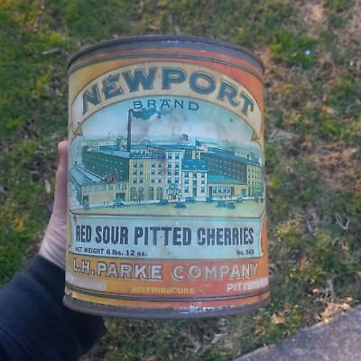 Antique 19004 Parke Co Red Sour Pitted Cherries Advertising Can