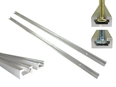 """2pc 24"""" Aluminum T Track 3/4"""" by 3/8"""" Slot Accepts 1/4"""" Hex or 5/16"""" Bolts Holes"""