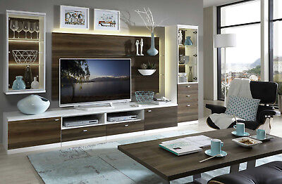 h lsta now 14 wohnwand anbauwand lack weiss nussbaum eur picclick de. Black Bedroom Furniture Sets. Home Design Ideas