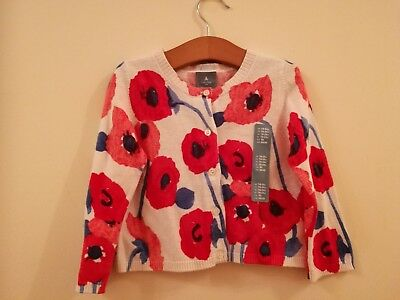 Baby Gap Red Floral Cardigan, 18-24 months