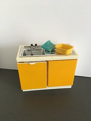 Sindy Kitchen Sink Basin With Bowl And Towel In Need Of Repair Vintage Item