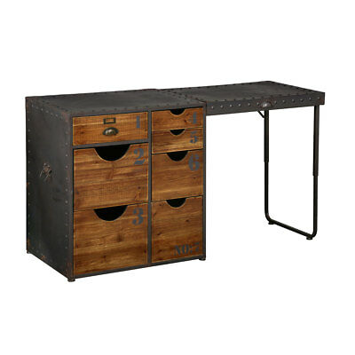 Foundry Desk 7 Drawers Fir Wood & Metal Workplace Home Office Study Computer