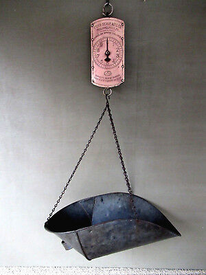Antique Hanging Scale Brass PENN MFG CO 30 lb Primitive Country Store, Tin Tray
