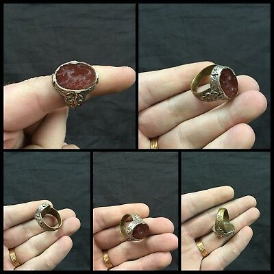 Post Medieval Gilt Ring With Intaglio