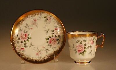 Royal Chelsea Pink Roses and Gold Cup and Saucer, England