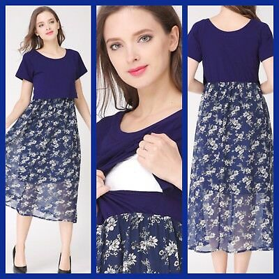 Bnwt Navy Print Maternity Breastfeeding Nursing Dress Size M L Xl 12 14 16