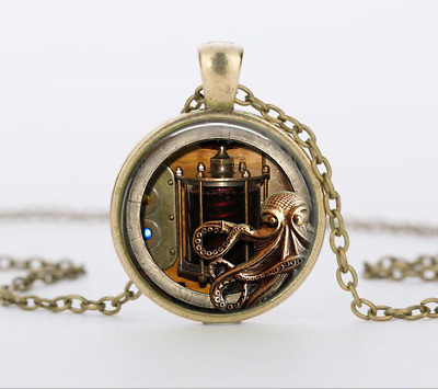 1 pcs Steampunk Owl gear Glass Cabochon bronze chain pendant necklace  #48