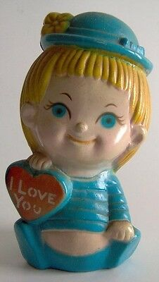 Vintage Plastic Coin Bank Big Blue Eyed Blonde Baby Boy Girl Pixie Face Love You