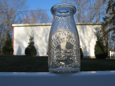 RD EMBO SLUG plate half pint MILK BOTTLE CRESENT DAIRY CHARLESTON SOUTH CAROLINA