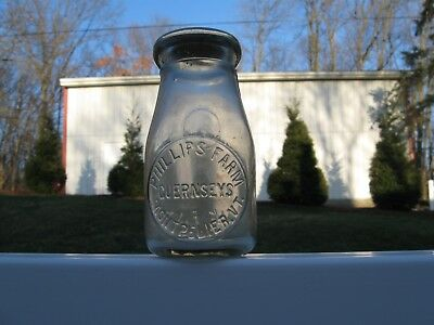 RD EMBOSSED SLUG plate half pint MILK BOTTLE PHILLIPS DAIRY MONTPELIER VERMONT