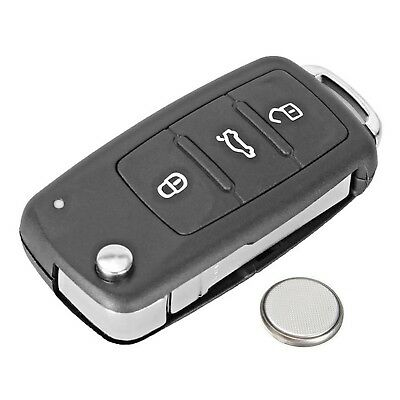 3 Button Remote Key Fob Case Service Kit + Battery For VW Touran Caddy Tiguan UP