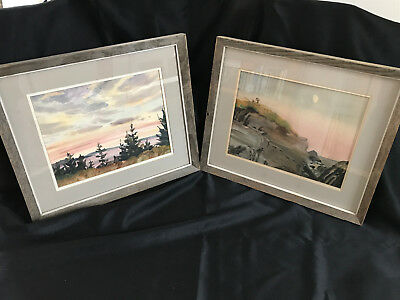 Gene Klebe AWS Maine - Signed - Two Original Watercolors Nicely Framed Driftwood