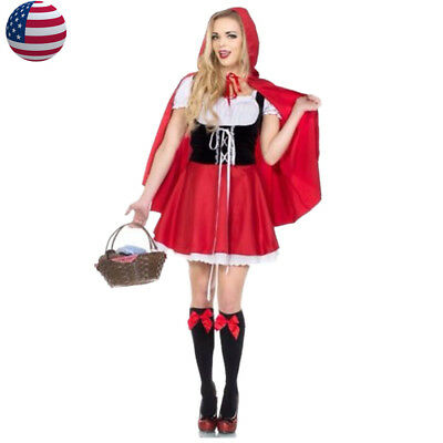 US Stock Plus Size S-6XL Little Red Riding Hood Costume Women Cosplay Outfit
