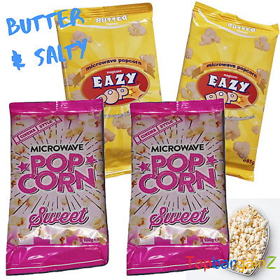 Microwave Popcorn Sweet Salted Butter Easy Made 100g Bags Party Cinema 2 4 Packs