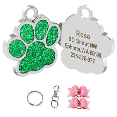 Paw Print Personalized Dog Tags Disc Disk Engraved ID Name Collar Tag Glitter