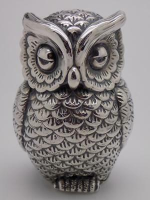 34g/1.2-oz. Vintage Solid Silver Italian Made BIG Owl Figurine, Miniature,Stamp*
