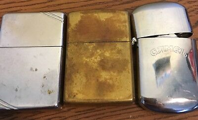 Lot of 3 Vintage ZIPPO LIGHTERS One is a Camel Non-Working