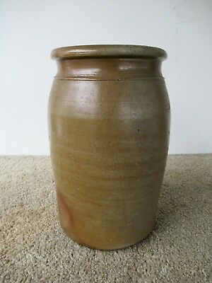Antique Crock Primitive Stoneware Pottery 1 Gallon Circa 1890, Tan Salt Glaze
