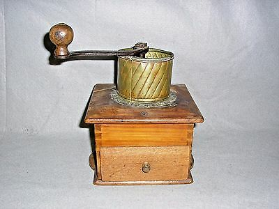 Antique Coffee Grinder Mill Copper Mounted on Wood Cabinet Drawer w/Iron Handle
