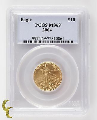 2004 G$10 American Gold Eagle 1/4 Ounce Graded by PCGS as MS-69 Bullion Coin