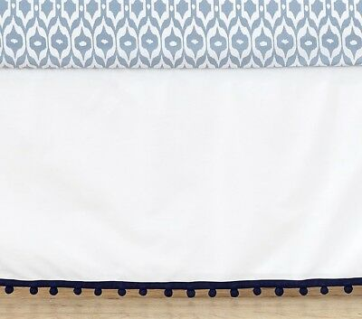 pottery barn kids Emily & Meritt Tassel Crib Skirt new original $99 navy