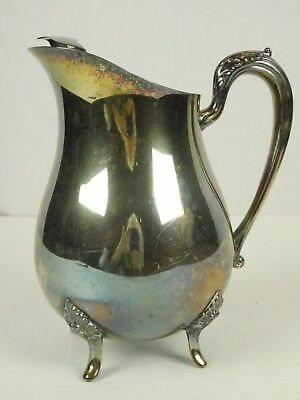 "Ornate Alvin P530 Silver Plate Footed Water Pitcher with Ice Lip Vintage 9"" Tall"