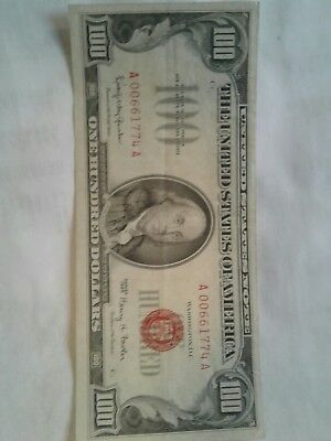 1966 100 red seal. US Note.