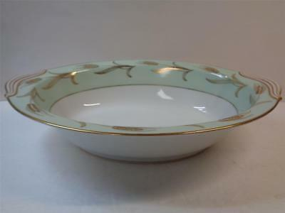 NORITAKE ALICE 5267 fine china Oval Vegetable Dish Green w Gold Wheat 10.5 inch
