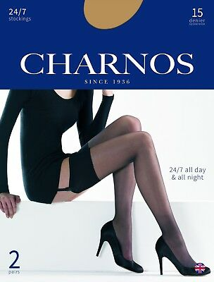 CHARNOS 24/7 STOCKINGS 15 DEN reinforce toe 2 pair pack sheer, smooth