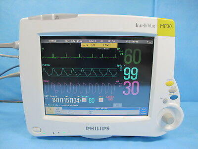 Philips Intellivue MP30 Patient Monitor with M3001A Module, Cables, & Warranty