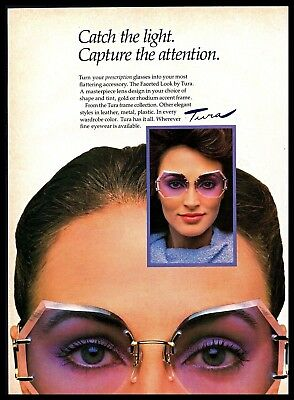 1982 Tura Faceted Look Lilac Color Glasses Eyewear Vintage 1980s Photo Print Ad