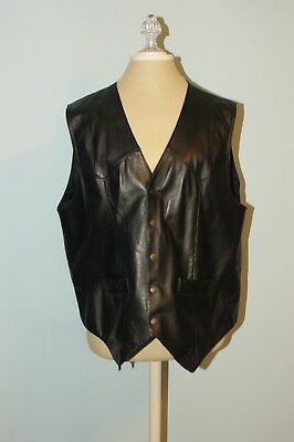 Square Dance Vest - Men's - Black Leather by Scully
