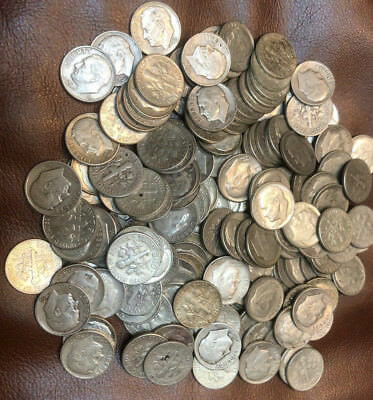Over 185 Roosevelt Dimes (17 ounces) bag,  Silver 1964 and earlier Mixed Lot