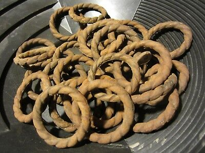 30 Antique Twisted Cast Iron Rings hand forged Architectural Salvage gold rush