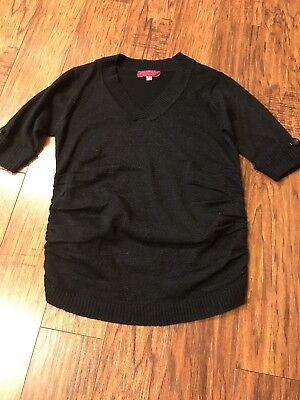 Derek Heart Maternity Sweater Womens Size M Black 1/2 Sleeve Side Rouched Tunic