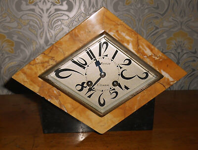 French Art Deco Marble Clock - Moulin St Etienne - Chiming Bell