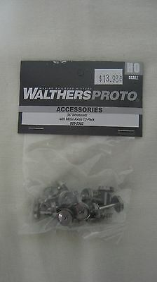 """Walthers Proto HO 36"""" Metal Wheelsets with Metal Axles 12 Pack #920-2302"""