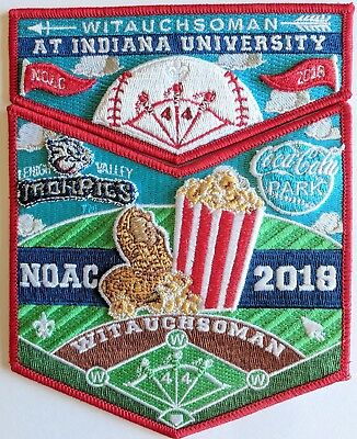Witauchsoman Lodge 44 OA flap S73/X27 NOAC 2018 Iron Pigs Peanuts & Cracker Jack