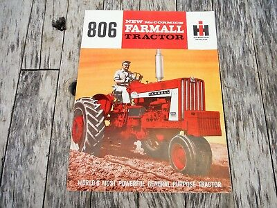 VINTAGE INTERNATIONAL HARVESTER McCormick FARMALL 806 TRACTOR BROCHURE