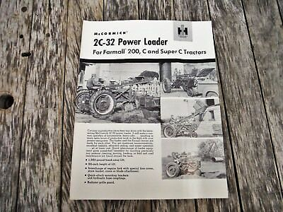 VINTAGE IH McCormick 2C-32 POWER LOADER FOR FARMALL 200 C SUP C TRACTOR BROCHURE