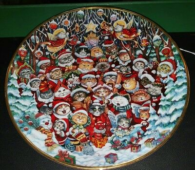 "Franklin Mint porcelain Santa Claws collector plate 8"" Christmas holiday cats"